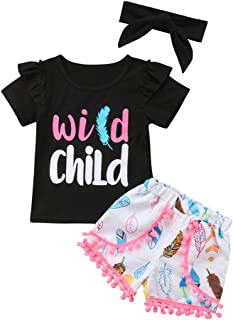 Infant Baby Girl Wild Child Print Ruffle Sleeve T-Shirt+Leaves Tassel Shorts Outfit Clothes Set