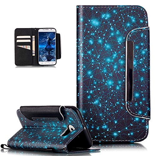 Kompatibel mit Galaxy S6 Hülle,ikasus Bunte Gemalt Malerei Muster PU Lederhülle Schutzhülle Handyhülle Taschen Schalen Handy Tasche Flip Wallet Ständer Etui Schutzhülle für Galaxy S6,Blaue Galaxie