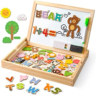 Coogam Wooden Magnetic Letters Numbers Animals with Easel Board – Alphabet 123 ABC Set Jigsaw Puzzle Travel Games Preschool Learning Toys with Drawing Writing Doodle Dry Erase for Toddler Kids Gift