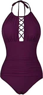 Women's Halter One Piece Swimsuits High Neck Cutout Ruched Swimwears