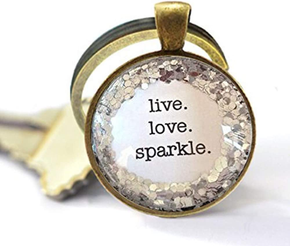 Live. Love. Sparkle. Silver Glitter Los Angeles Mall Necklace, Quote Discount is also underway French