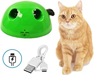 【Upgraded 2.0 USB Charge Version】QUECY Interactive Cat Toys,  Rechargeable Pop Smart Pet Toy Play Fun Gift,  Mouse Squeak Sound,  Automatic Rotate Feather,  Electronic Auto Shut Off Kitten Kitty Exercise