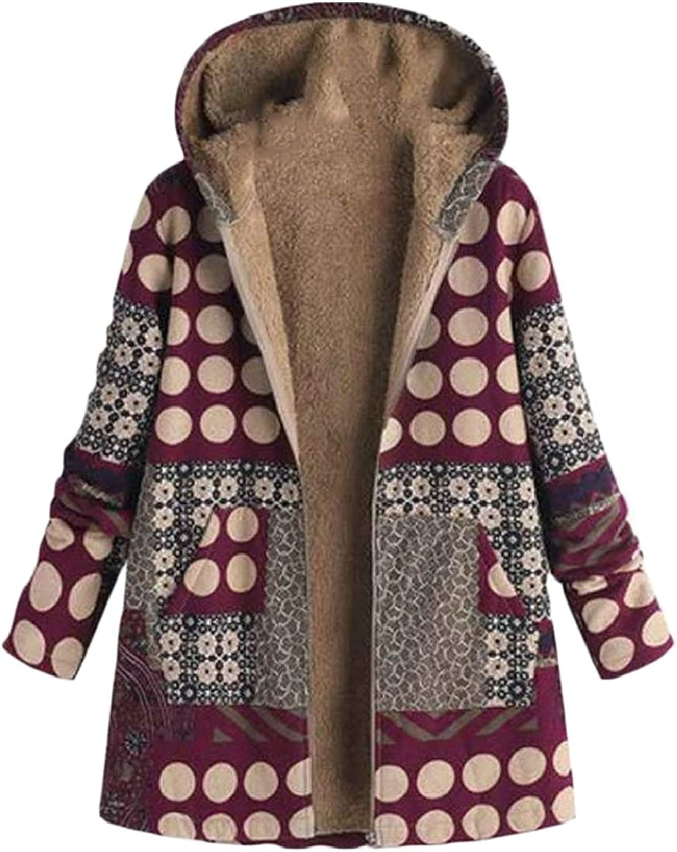 QDCACA Women Hooded Long Sleeve Cotton Linen Fleece Faux Fur Zipper Coat Outwear