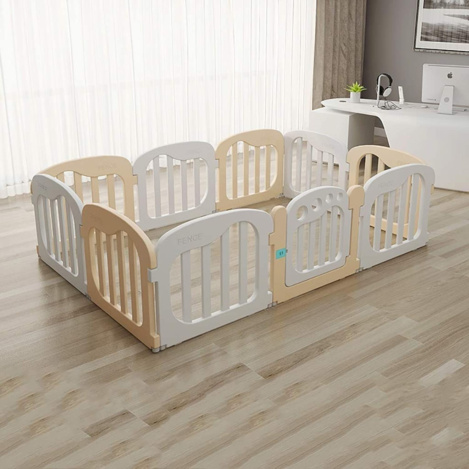 Baby Play Fence Room Divider Playground Indoor and Outdoor (color   Beige+White)