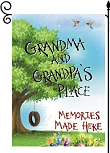 YaoChong Grandma and Grandpa's Place Garden Flag Vertical Double Sided 12.5x18 Inch,Spring Gifts Memories Made Here Yard Lawn Easter Decorations
