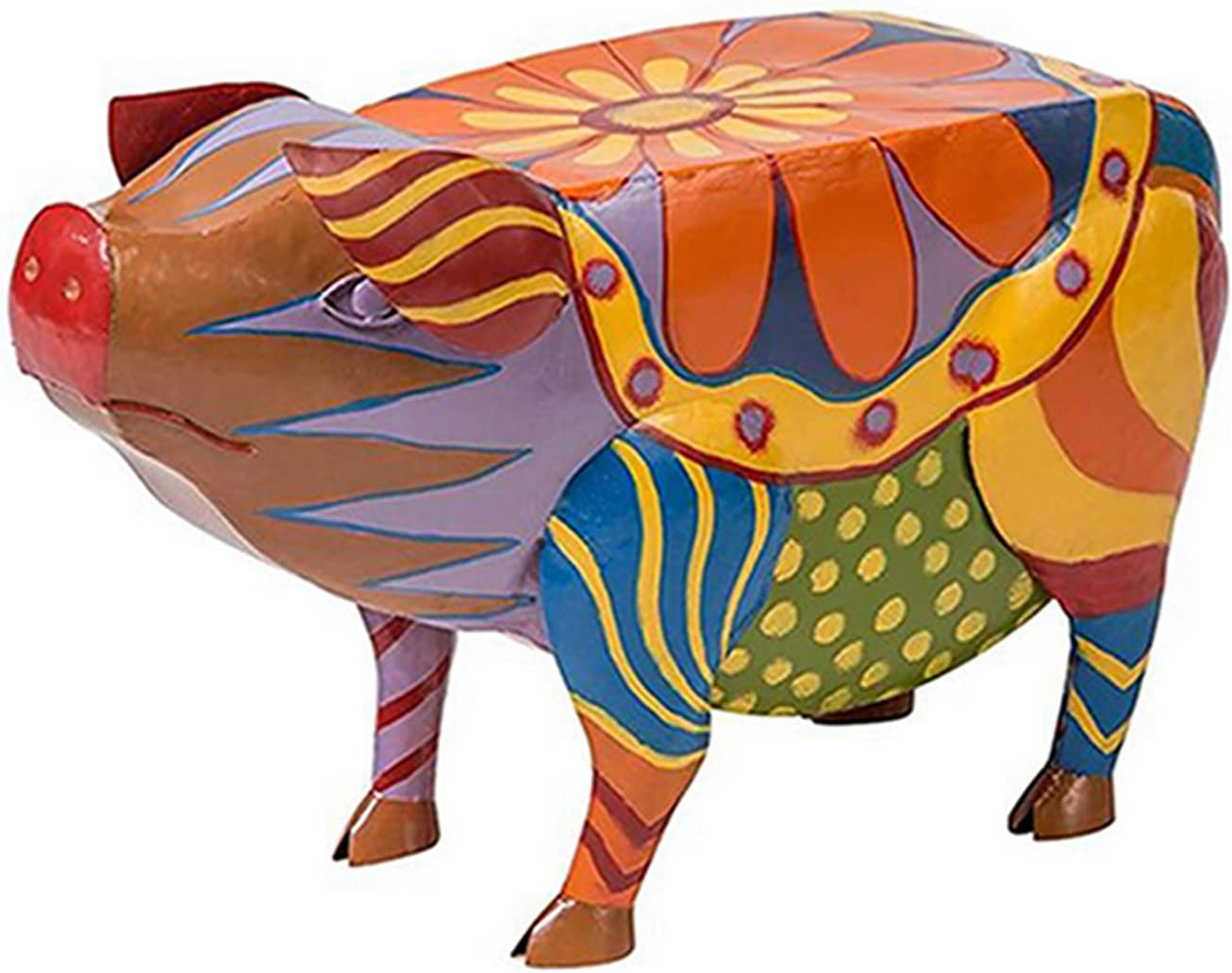 OOYT Colorful Folk Art Same day shipping Pig Side Resin Statues Miami Mall Cute Table Animal