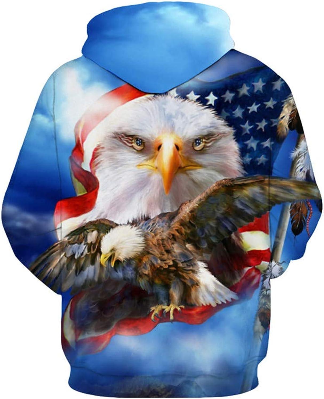 blueee Hooded Sweatshirt Eagle Flag Print Fashion Hoodie Sweatshirt