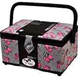 SINGER 57261 Vintage Sewing Baskets, Large, Pink/Black