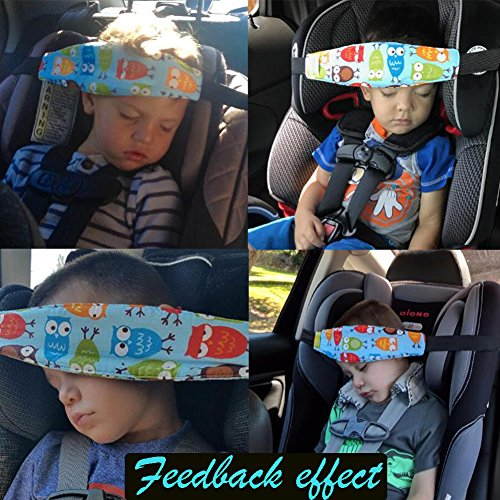 Accmor 2 Pcs Baby Carseat Head Support, Head Band Strap Headrest, Stroller Carseat Sleeping Head Support for Toddler Child Children Kids Infant (Blue)