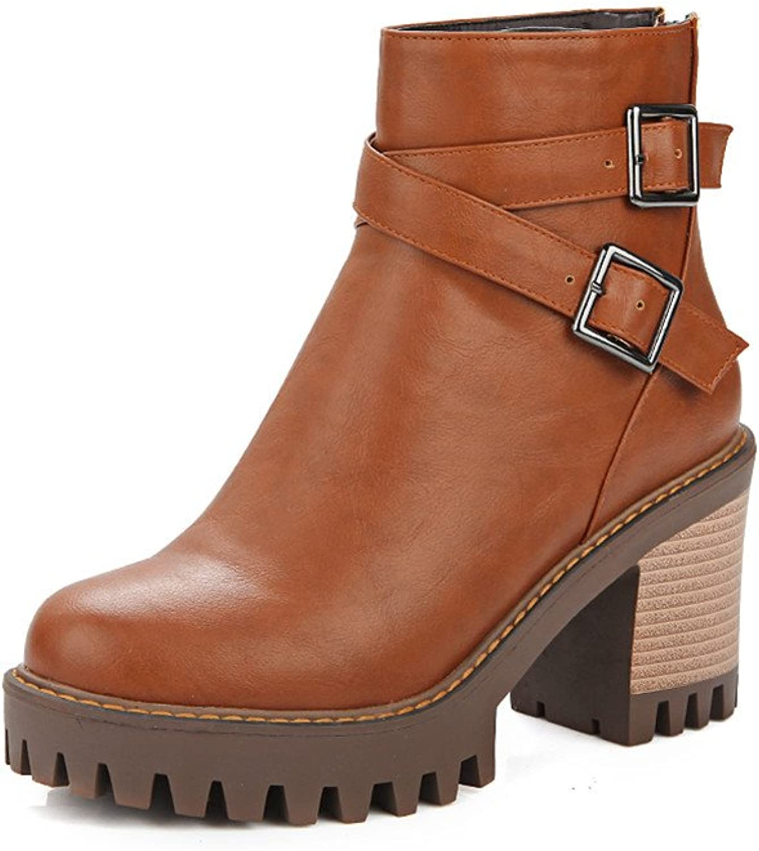 Lucksender Womens Round Toe Cross Buckle Platform Chunky High Heel Short Boots