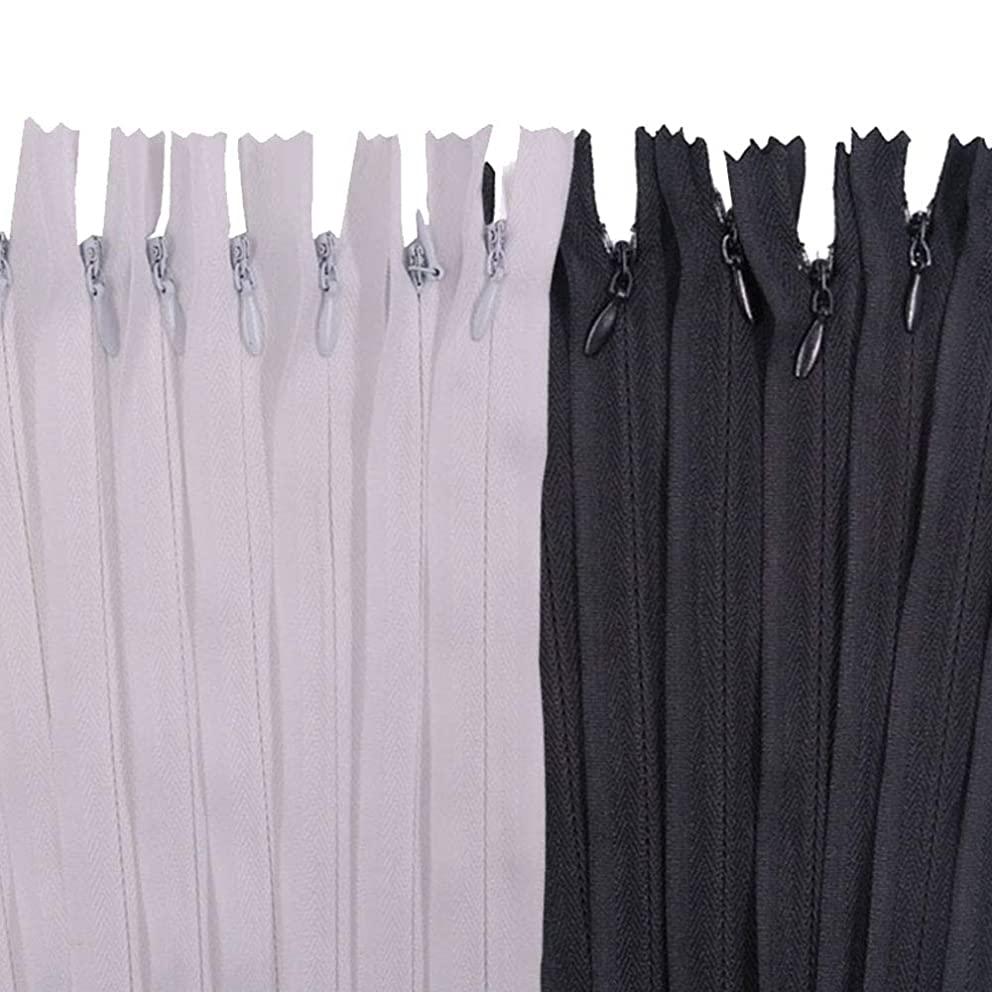 Renashed 50pcs 21.5 Inch Nylon Invisible Zippers Black White Mix for Tailor Sewer Sewing Craft Crafter's Special (Black&White)