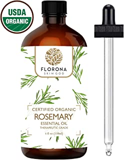 Florona Organic Rosemary Essential Oil, 4 Oz USDA Certified Organic