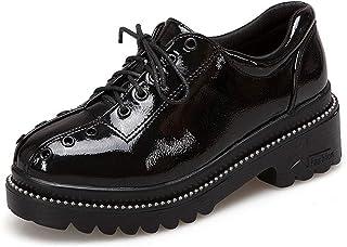 [ツネユウシューズ] おじ靴 レディース ラウンドトゥ オックスフォード ブーティパンプス レースアップ ブーツ ショートブーツ ブラック歩きやすい ファッション コンフォート リボン オフィス 厚底 ビジネス 学生靴 通学 女子 滑り止め 通勤