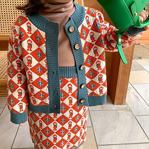 LiSh-EC Kinderbekleidung 2020 Herbst und Winter Neue koreanische ins Kinderstrickjacke Zweiteilige Anzug Mädchen Raute Anzug-rot_120cm