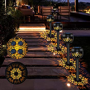 4-Pack Rabbitking Outdoor Solar Decorative Flower Pathway Lights