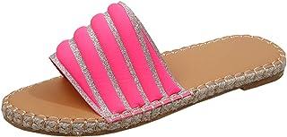 DAIFINEY Slippers, voor dames, badschoenen, slippers, slingback, peep teen, slip-on comfortabel, platte strandsandalen, ba...