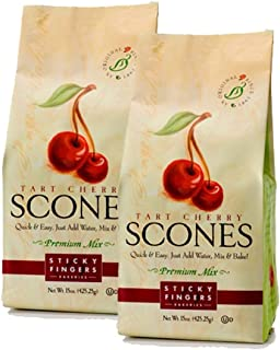 Sticky Fingers Scone Mix (Pack of 2) 16 Ounce Bags – All Natural Scone Baking Mix (Tart Cherry)
