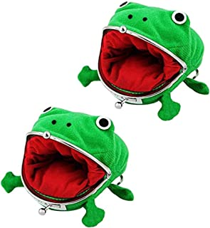 Poluka 2 Pcs Frog Coin Wallets Frog Coin Purse Headset Bag Cartoon Animal Wallet Coin Bag Coin Pouch Key Credit Card Holder Novelty Toy School Prize Gifts Christmas Gift