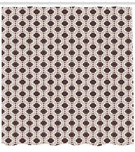 taquxinlaowan Asiatischer Duschvorhang Javanischer Batik-Motivdruck für Badezimmer