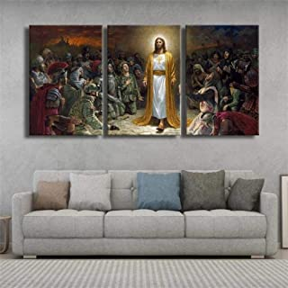 IMAX666 Tableau Multi Panneau 3 Parties Art Chrétien Jésus Christ Or Tableau Imprimé sur Toile,Tableau Imprimé XXL,Tableau...