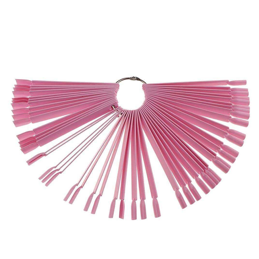 たっぷりインシュレータ代わりのHomyl 約50ピース ネイルアート チップ ネイルファン カラースティック ネイルポーランド ディスプレイファン ネイルサロン 家庭用 3色選べ - ピンク