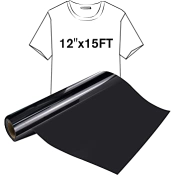 12inx15ft, Black Heat Transfer Vinyl Iron-on Textile HTV Craft Film Garment Clothing for T-Shirt Decoration DIY Craft Sewing