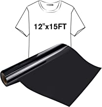 "JANDJPACKAGING Black HTV Iron on Vinyl Roll - 12"" x 15ft Easy to Cut & Weed Heat Transfer Vinyl for Silhouette and Cricut DIY Iron Vinyl Heat Press Design for T-Shirts"