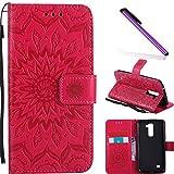 COTDINFOR LG K10 Funda Flores Cierre Magnético Billetera con Tapa para Tarjetas de Cárcasa Elegante Retro Suave PU Cuero Caso Protectora Case para LG K10 Sunflower Red KT