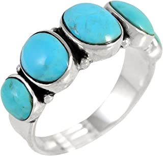 Turquoise Ring Sterling Silver 925 & Genuine Turquoise (Select Color)
