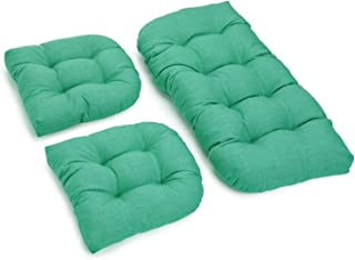 Blazing Needles All-Weather Bench Cushion Set (Set of 3) Emerald