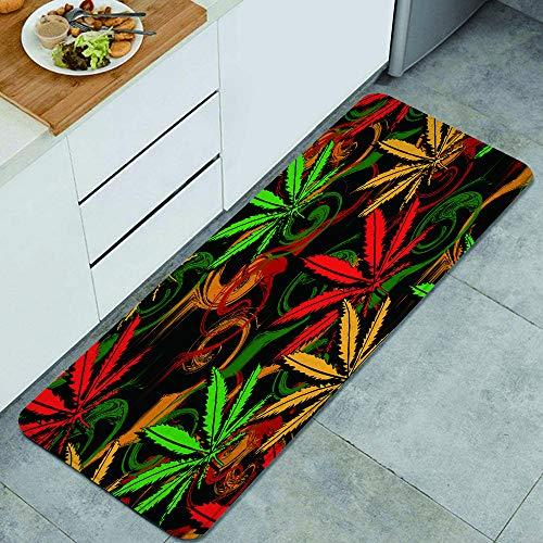 GEEVOSUN Resumen de Dibujos Animados Verde Rasta de Cannabis Marihuana en Colores Rastafari Ganja Alfombrillas de Cocina Antideslizantes Felpudo Lavable Juego de Alfombras de Microfibra