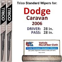 Wiper Blades for 2006 Dodge Caravan Driver & Passenger Trico Steel Wipers Set of 2 Bundled with Bonus MicroFiber Interior Car Cloth