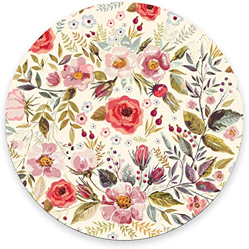Round Mouse Pad, Watercolor Spring Poppies Flowers Mouse Pad, Vintage Floral Print Art Abstract Gaming Mouse Mat Waterproof Circular Small Mouse Pad Non-Slip Rubber Base MousePads for Office Home
