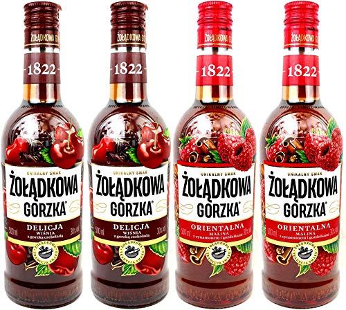 Vierer Paket Zoladkowa Gorzka Liköre (4x0,5) 2 Flaschen Delicja Kirsche, 2 Flaschen Orientalna Himbeere.