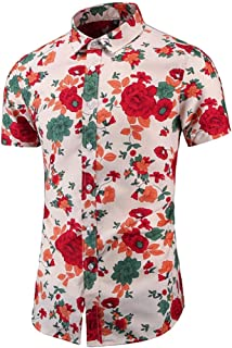 Men's Floral Casual Button Short Sleeve Hawaiian Shirt Large Men's Beach Vacation Shirt (Color : B, Size : 4XL)