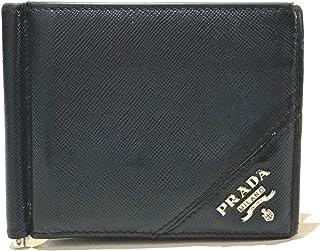 (プラダ)PRADA 2MN077 ロゴプレート マネークリップ付 短財布 二つ折り財布(小銭入れなし) サフィアーノレザー メンズ 中古