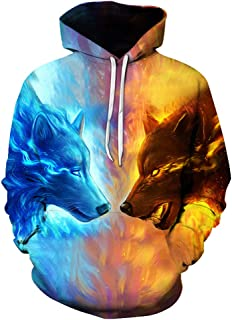 Unisex 3D Ice hot Wolf Printed Pullover Long Sleeve Fleece Hooded Sweatshirts with Pockets