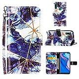 Dunkelblau Geometrische Marmor-Lederhülle für Huawei P Smart Z/Y9 Prime 2019 Brieftasche HandyHülle 3D Muster Flip Cover Magnetverschluss Folio Schutzhülle Ständer Kartenhalter Hülle Frauen