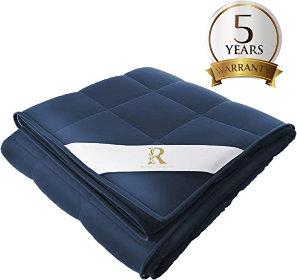 Royal Therapy Weighted Blanket Adult Kids Bed 15lb 60x80 Queen Size Comfort 100 Calming Cotton Blanket With Glass Beads