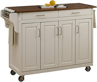 Create-a-Cart White 4 Door Cabinet Kitchen Cart with Oak Top by Home Styles