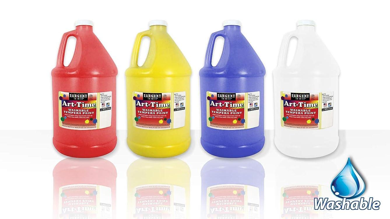 Sargent Art Gallon Washable Tempera Paints Assorted 4 Count