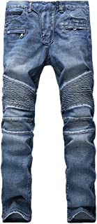 DAVID.ANN Men's Slim Straight Biker Jeans Hiphop Pants