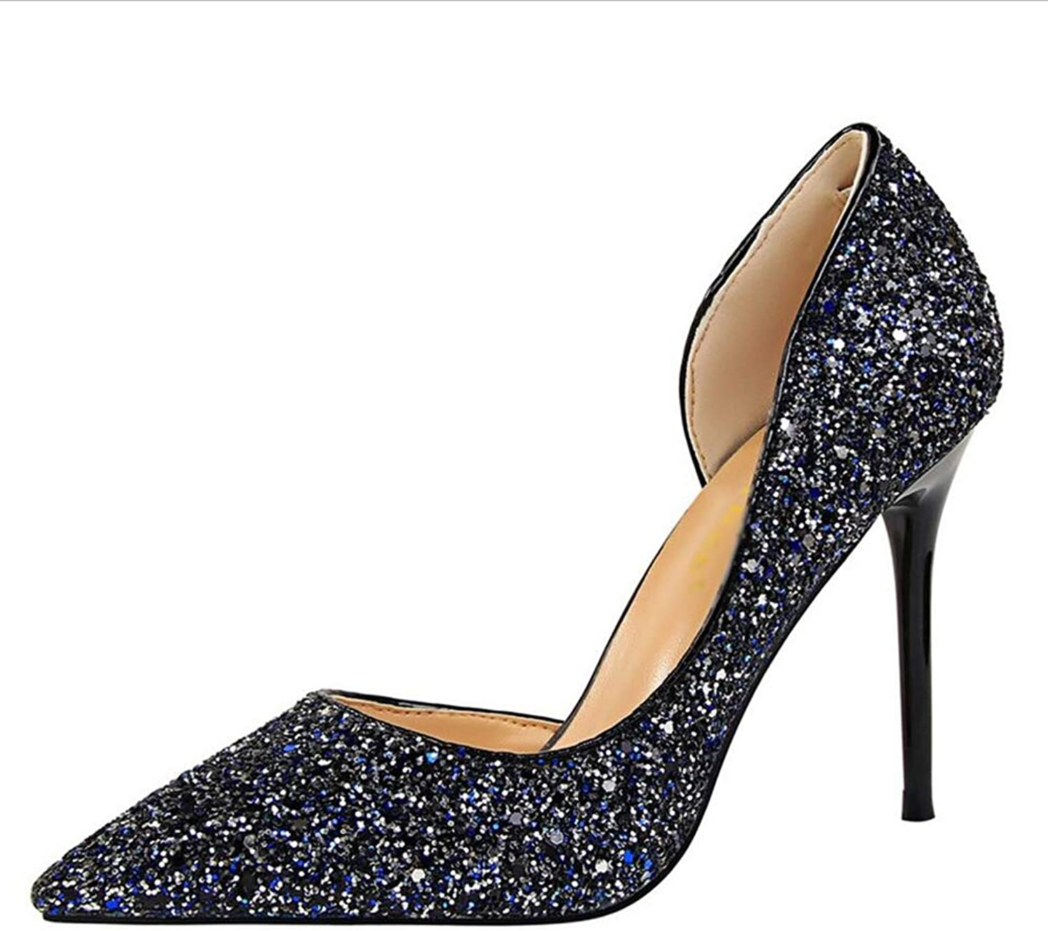 Court shoes Women's shoes shoes High Heel Western Style Sexy Nightclub Women's shoes Fine Heel Shallow Mouth Pointed Side Hollow Sequin shoes Haiming (color   bluee, Size   37)