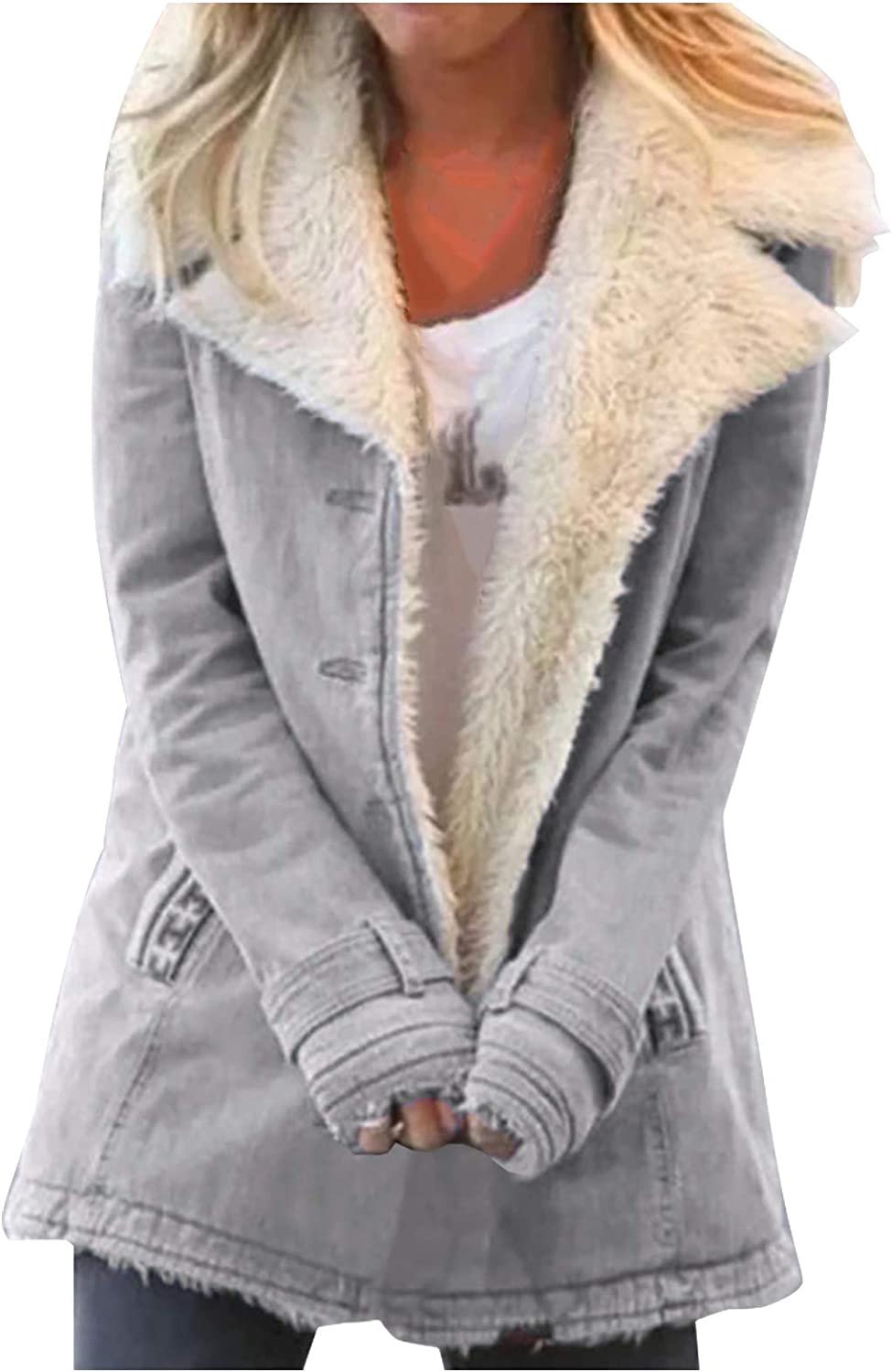 Smileyth favorite Women's Thick Warm Fleece Lapel Casual Jacket Industry No. 1 Slee Long