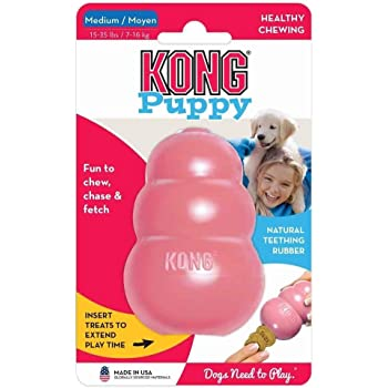 KONG - Puppy Toy - Natural Teething Rubber - Fun to Chew, Chase and Fetch (Includes One Toy, Color May Vary)