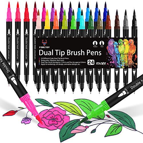 Dual Brush Pen Set, 24 Farben, Aquarell Pinselstifte Doppelfilzstifte Für Bullet Journal, Handlettering, Kalligraphie, Manga, Malbücher, Pinselspitzen [1-2 mm] und Fineliner [0,4 mm]