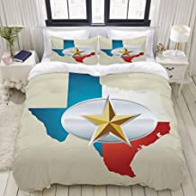 MOKALE Duvet Cover Set, Cowboy Belt Buckle Star Design with Texas Map Southwestern Parts of America, Decorative 3 Piece Be...