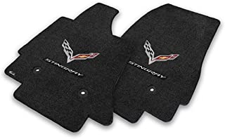 Fits C7 Corvette Stingray Floor Mats- Flags with Stingray Script: Black
