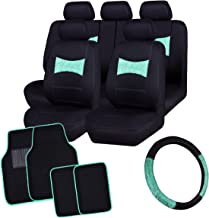 CAR PASS DELAY LACE Universal Car Seat Covers with lace Steering Wheel Cover and Universal fit car Floor mats, fit for Most of Cars,Trucks,SUV,Vans, 16PCS Included (Mint Blue)