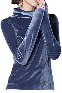 OTW المرأة الأزياء طويلة الأكمام بلايز سليم صالح المخملية تونك أعلى تي شيرت